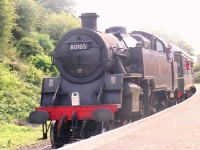 Steam train approaching Bedale Station at Aiskew