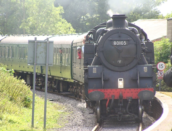 Steam loco approaching Bedale Station
